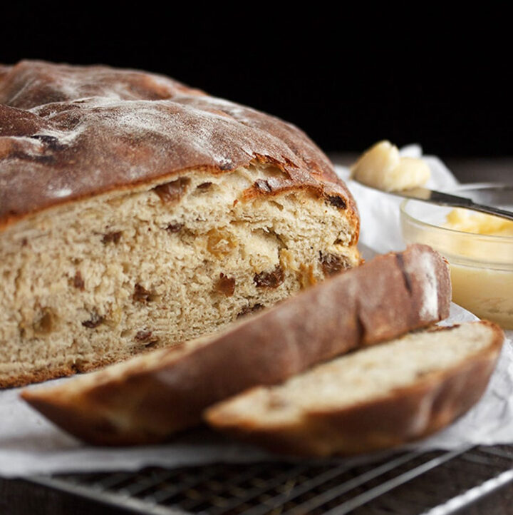 Irish barmbrack sliced with butter