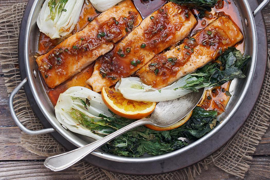 Spicy Orange Roasted Salmon with Bok Choy