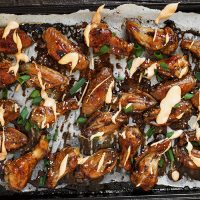 Teriyaki Chicken Wings with Sriracha Cream Drizzle