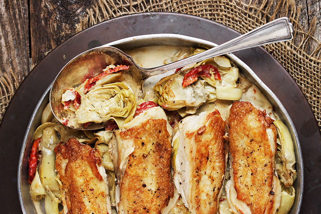 Chicken With Artichokes And Sun Dried Tomatoes Seasons And Suppers