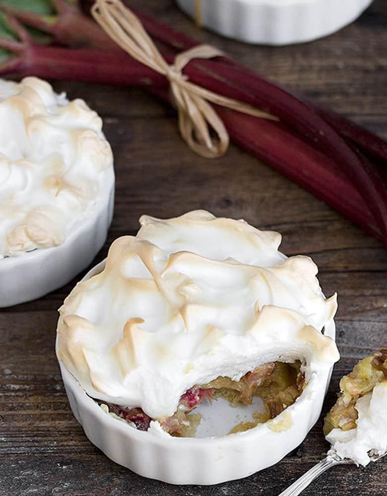 rhubarb meringue dessert torte in small ramekins