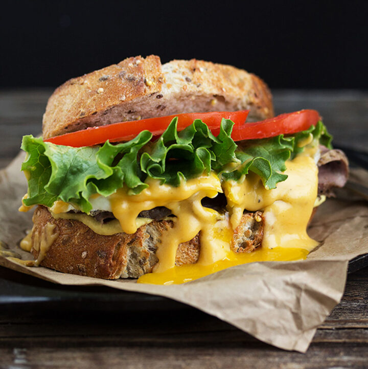 roast beef sandwich with cheddar beer sauce