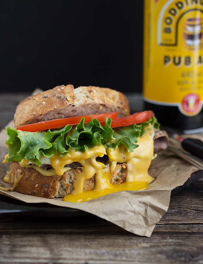 Roast Beef Sandwich with Cheddar Ale Sauce