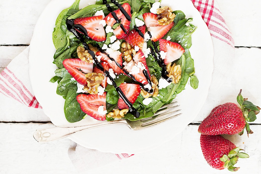 Strawberry and Spinach Salad with Goat Cheese