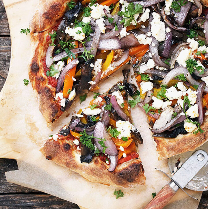 grilled vegetable pizza with goat cheese