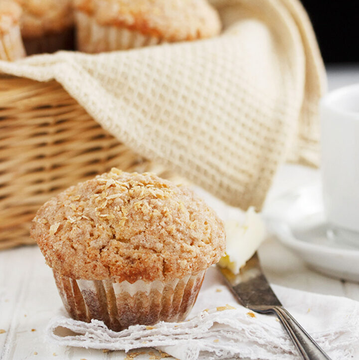 maple muffins in basket with one out