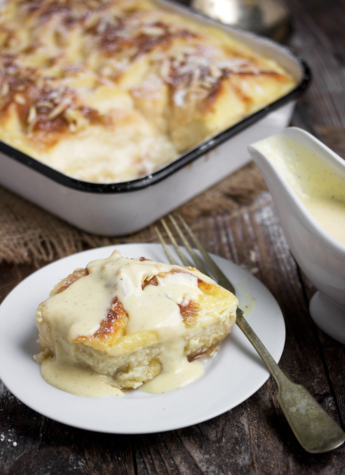 Stewed Rhubarb Bread Pudding