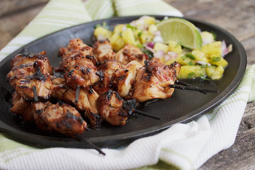 Spicy Chicken Skewers with Grilled Pineapple Salsa