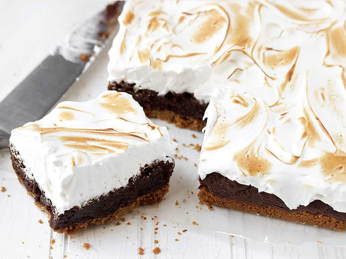 s'mores brownies cut on cutting board