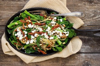 Rapini with Goat Cheese, Onions and Pine Nuts