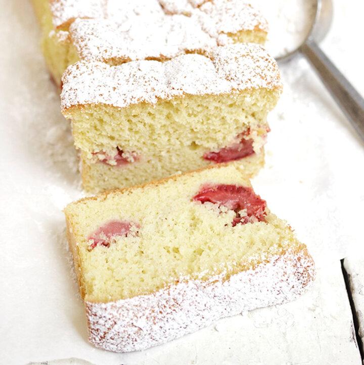 strawberry shortcake loaf sliced on white background