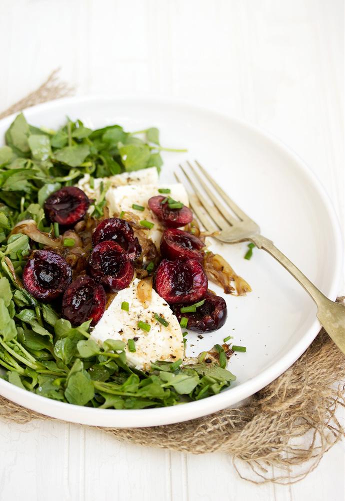 Watercress, Cherry, Shallot and Feta Salad