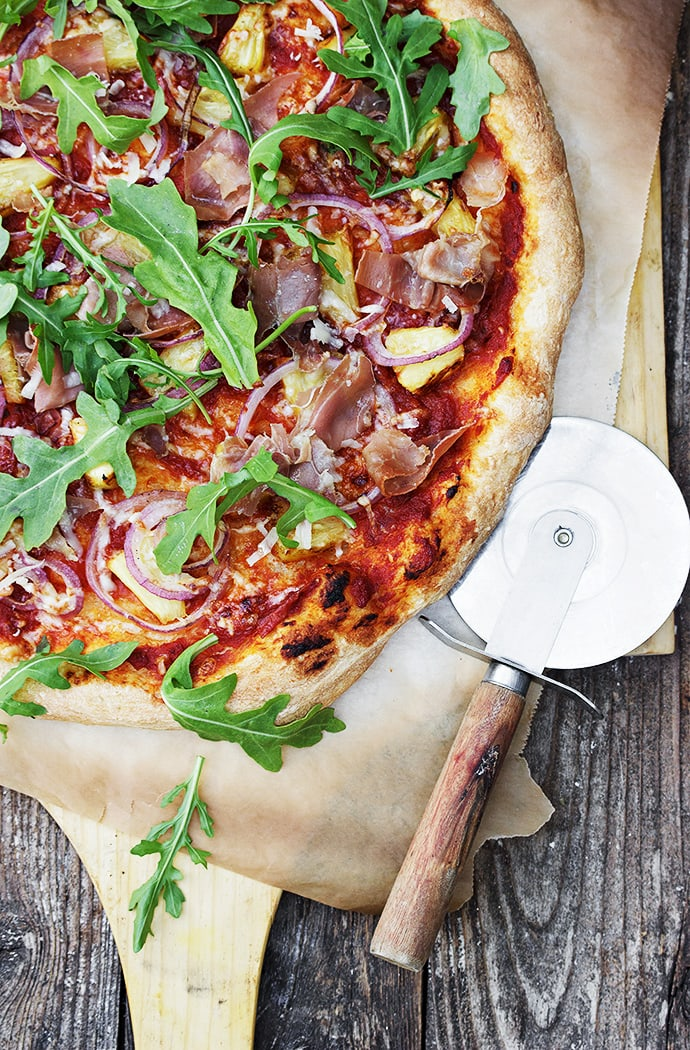 Grilled Pineapple, Prosciutto and Piave Pizza