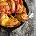 Pumpkin Cranberry Swirl Skillet Bread