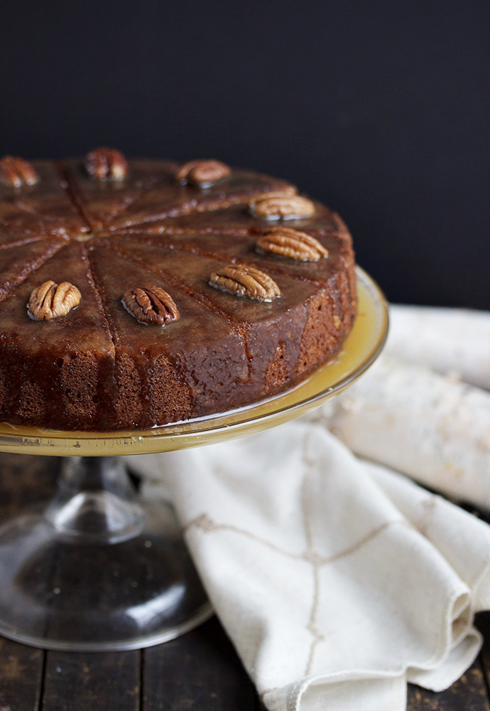Pecan Banana Cake with a Warm Rum Toffee Sauce - a cozy, comforting Winter dessert, perfect for entertaining.
