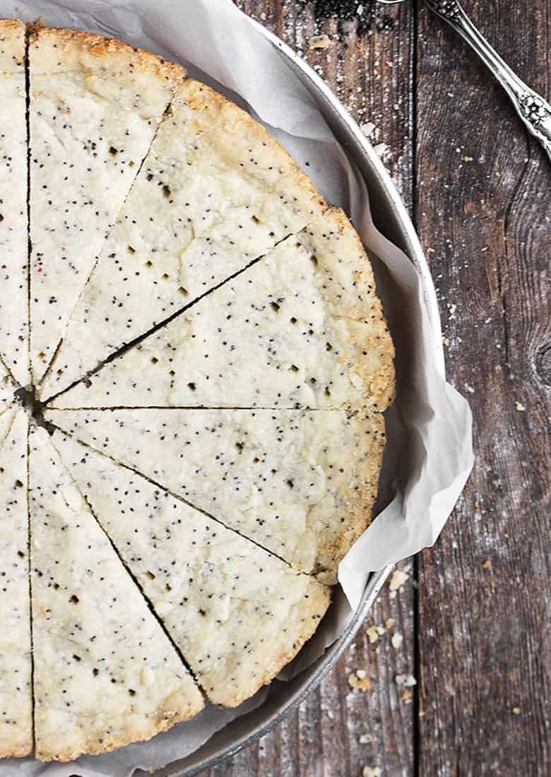 poppy seed shortbread wedges in baking pan