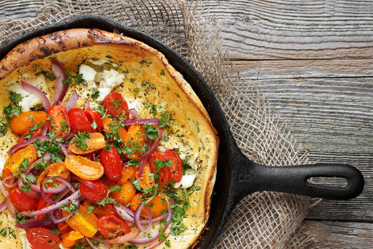 Tomato, Red Onion and Goat Cheese Dutch Baby