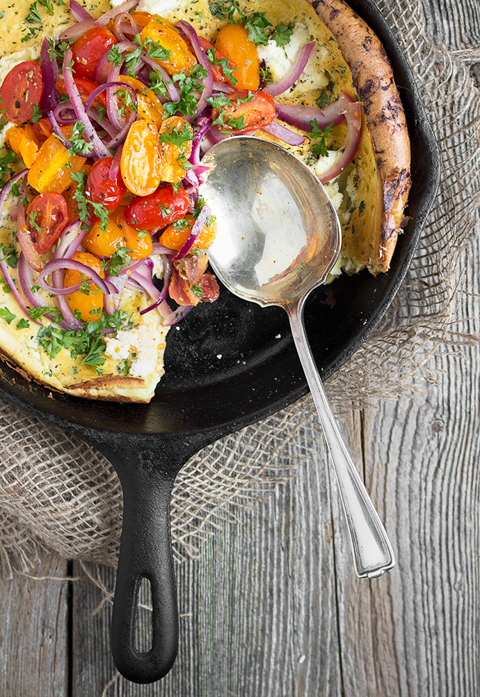 Savory Tomato, Red Onion and Goat Cheese Dutch Baby recipe