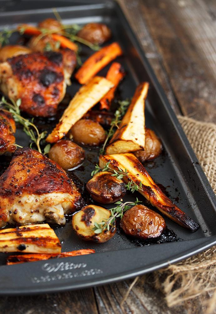 Honey Mustard Chicken and Vegetable Sheet-Pan Dinner recipe