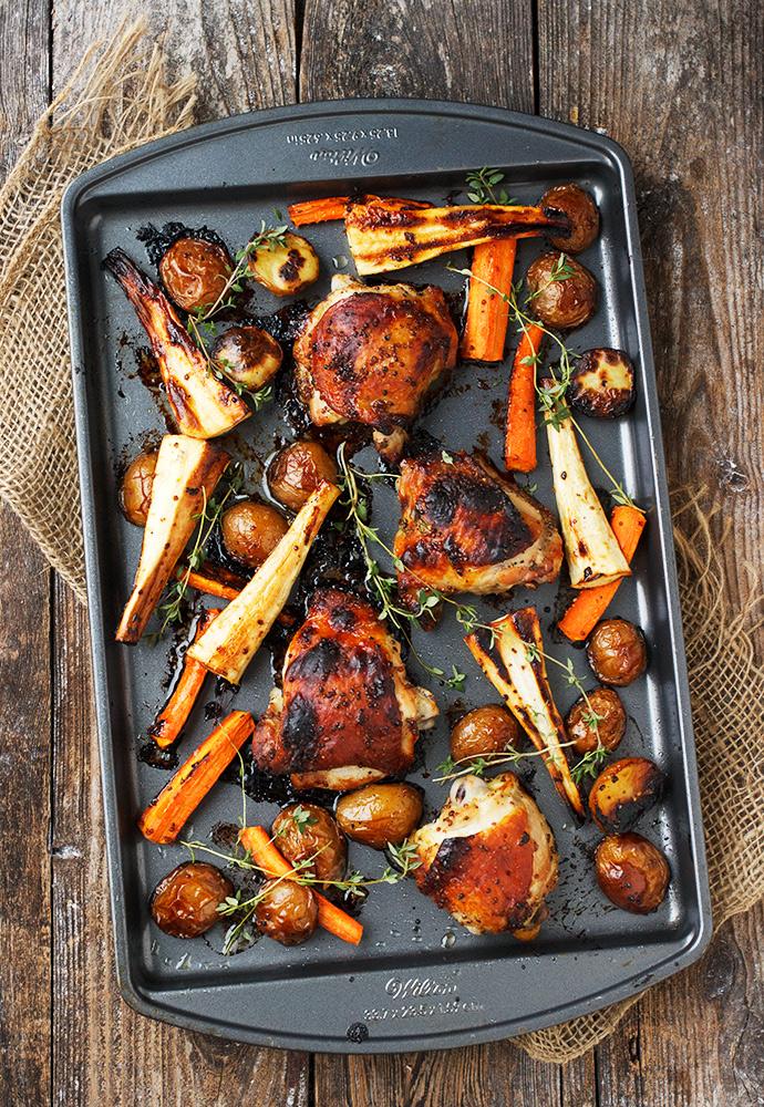 Sheet-Pan Honey Mustard Chicken and Vegetables recipe