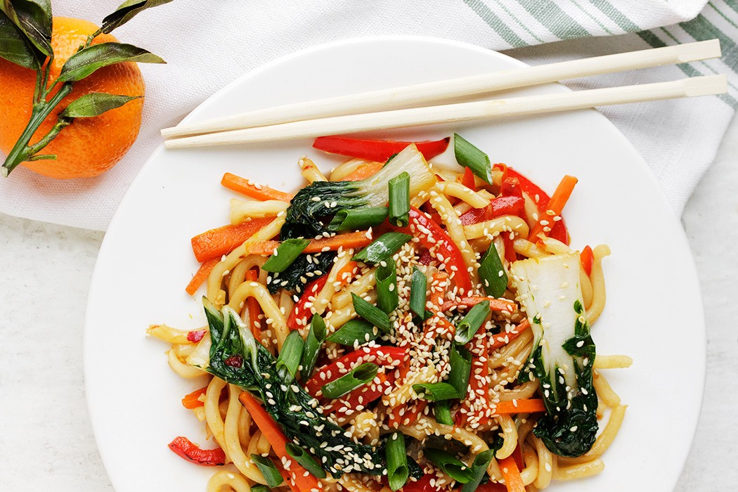 Spicy Udon Stir-fry with Bok Choy and an Orange Sesame Sauce