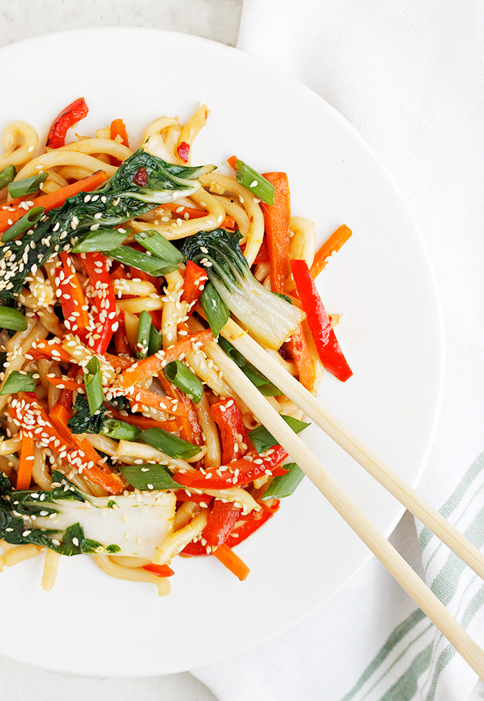 Spicy Udon Stir Fry with Bok Choy and Orange Sesame Sauce recipe