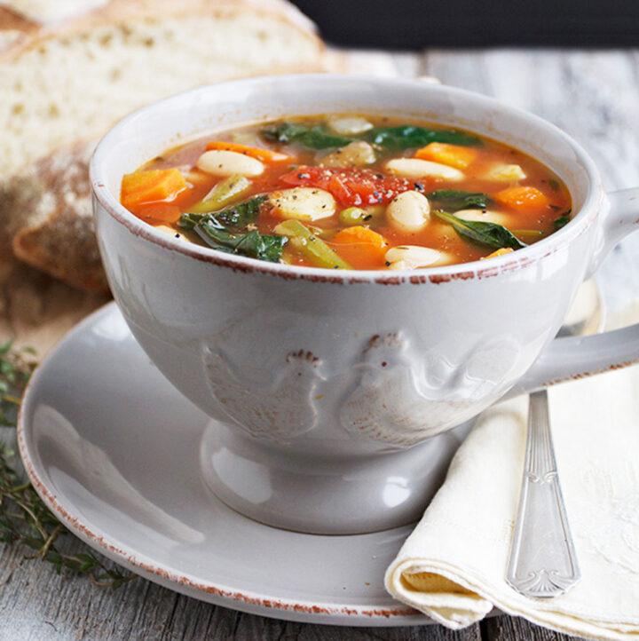 provencal vegetable soup in soup bowl