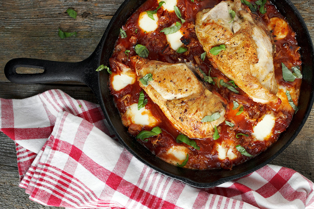 Skillet Chicken with Tomatoes, Pancetta and Bocconcini