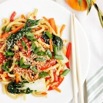Spicy Orange Sesame Udon Noodle Stir Fry with Bok Choy