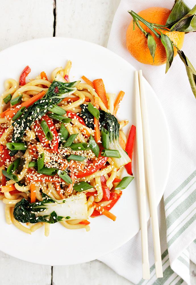 Spicy Orange Sesame Udon Noodle Stir Fry with Bok Choy