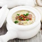 Irish colcannon soup in soup pots