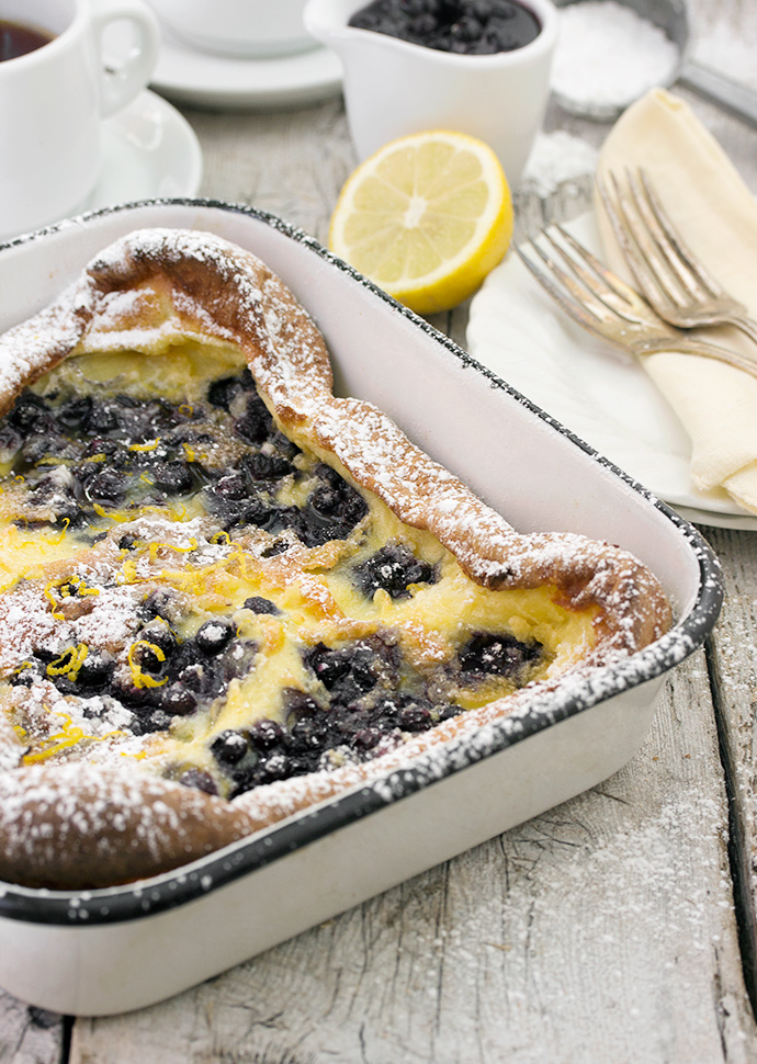 Pannukakku Finnish Pancake with Wild Blueberries and Lemon