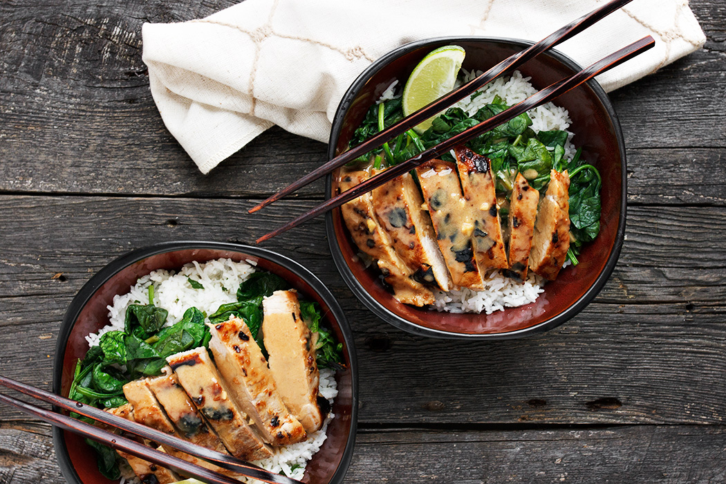 Thai Pork Rice Bowl with Peanut Sauce | Seasons and Suppers