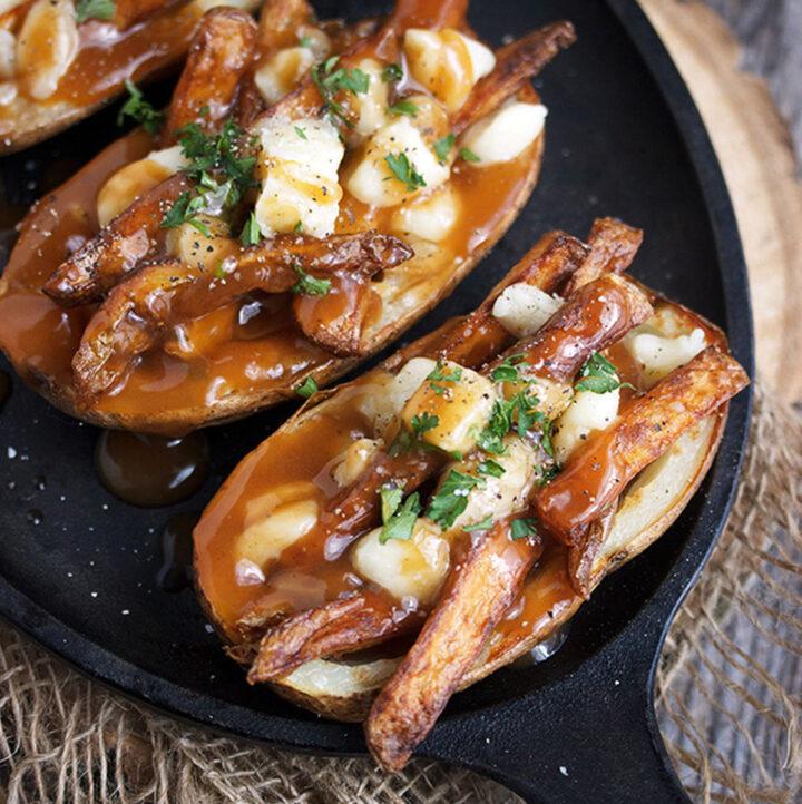 poutine potato skins on cast iron griddle