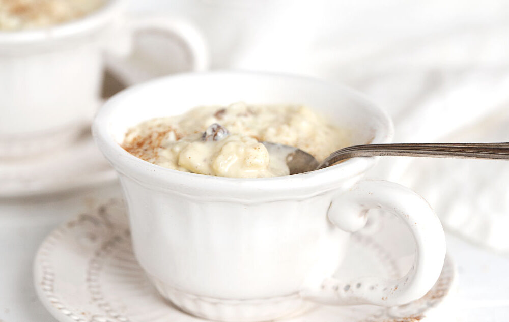 rice pudding in tea cups