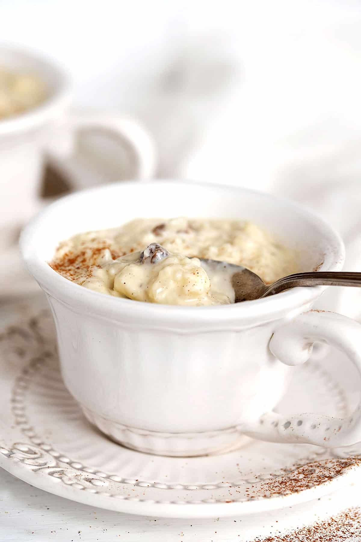 creamy rice pudding in tea cup