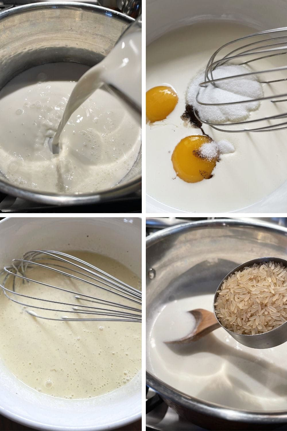 photo collage of steps to make stove-top rice pudding 1