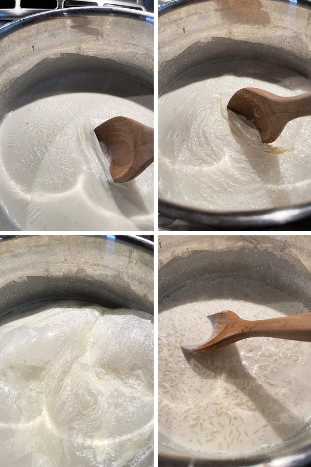 photo collage of steps to make stove-top rice pudding 2