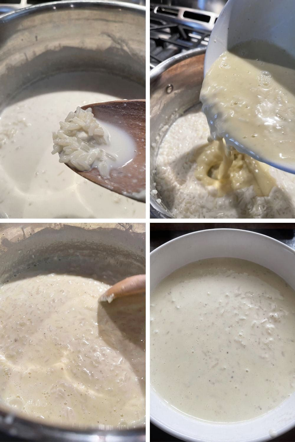 photo collage of steps to make stove-top rice pudding 3