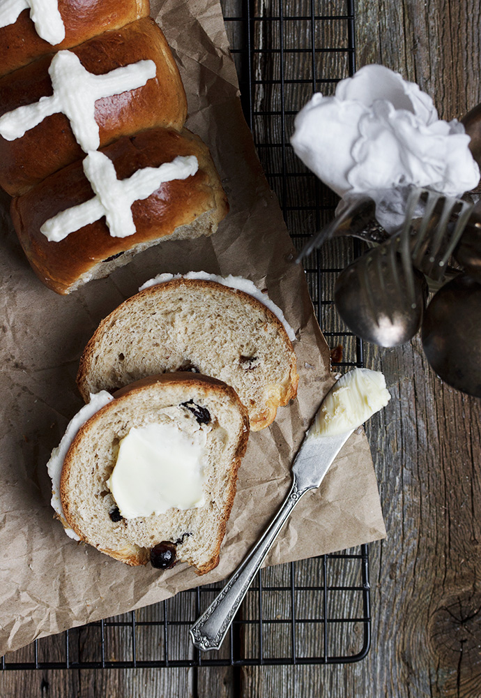 Brown Butter and Dried Cherry Hot Cross Buns