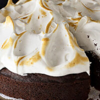 chocolate Guinness cake with meringue frosting