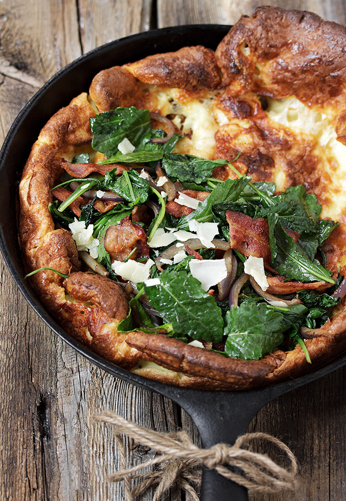 Kale, Bacon and Aged Cheddar Dutch Baby