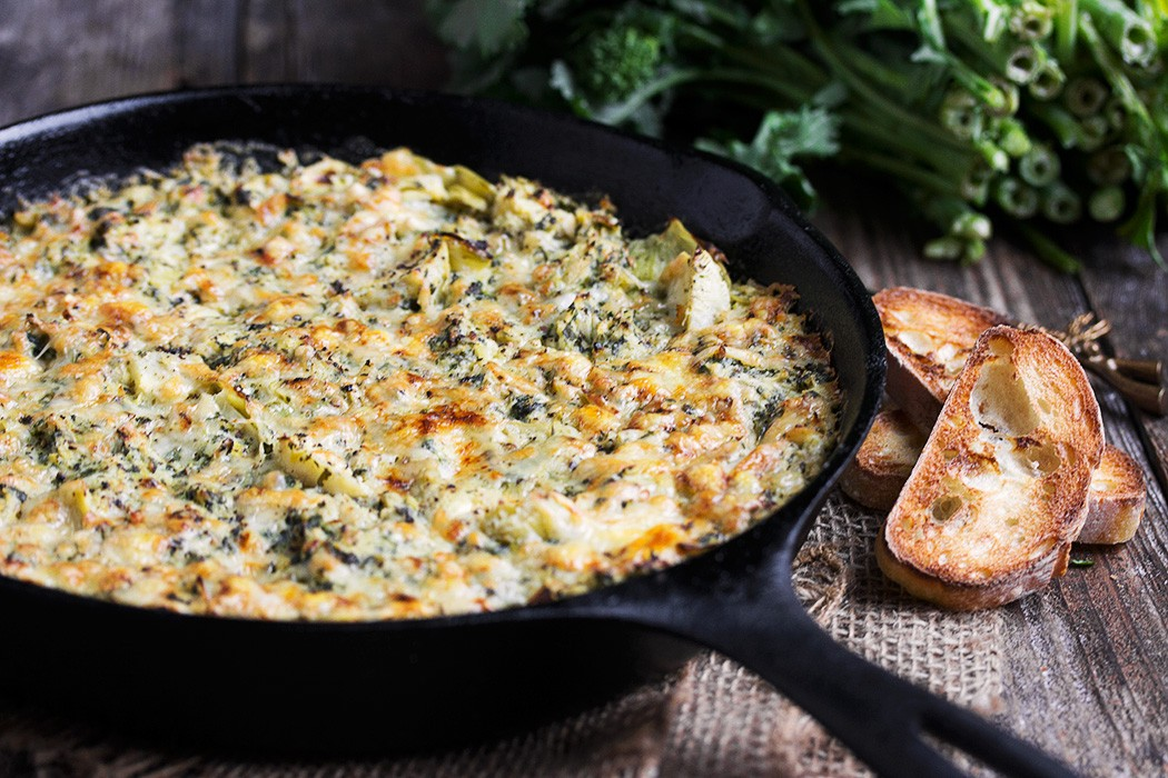 Warm Rapini, Artichoke and Oka Cheese Dip