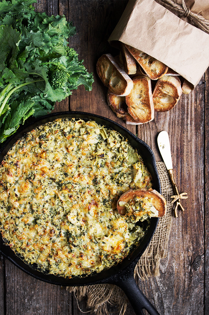 Warm Rapini Artichoke and Cheese Dip