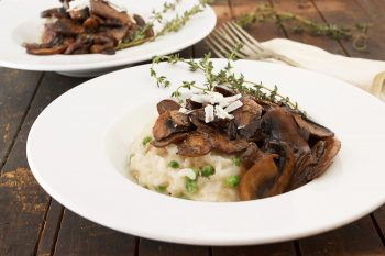 Baked Parmesan Risotto with Marsala Mushrooms