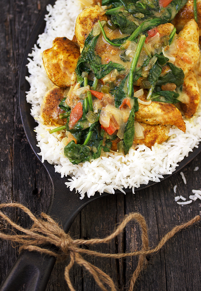 Brazilian Chicken Curry with Spinach - one pan and about 30 minutes for this delicious meal!