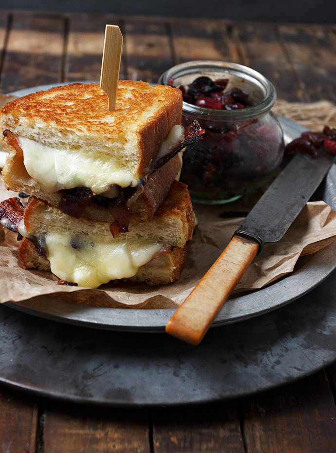 Cheese Curd, Cheddar, Bacon and Red Onion Marmalade Grilled Cheese