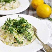 Lemon Risotto with Pea Shoots