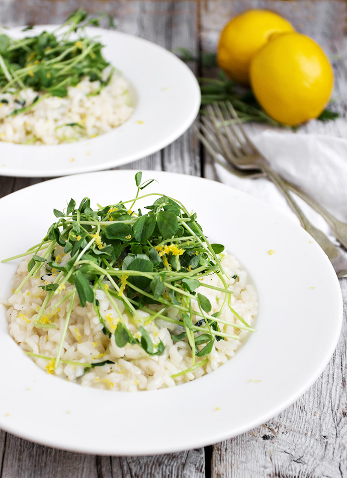 Lemon Risotto with Pea Shoots - a delicious meatless main or perfect as a side dish with any meat.