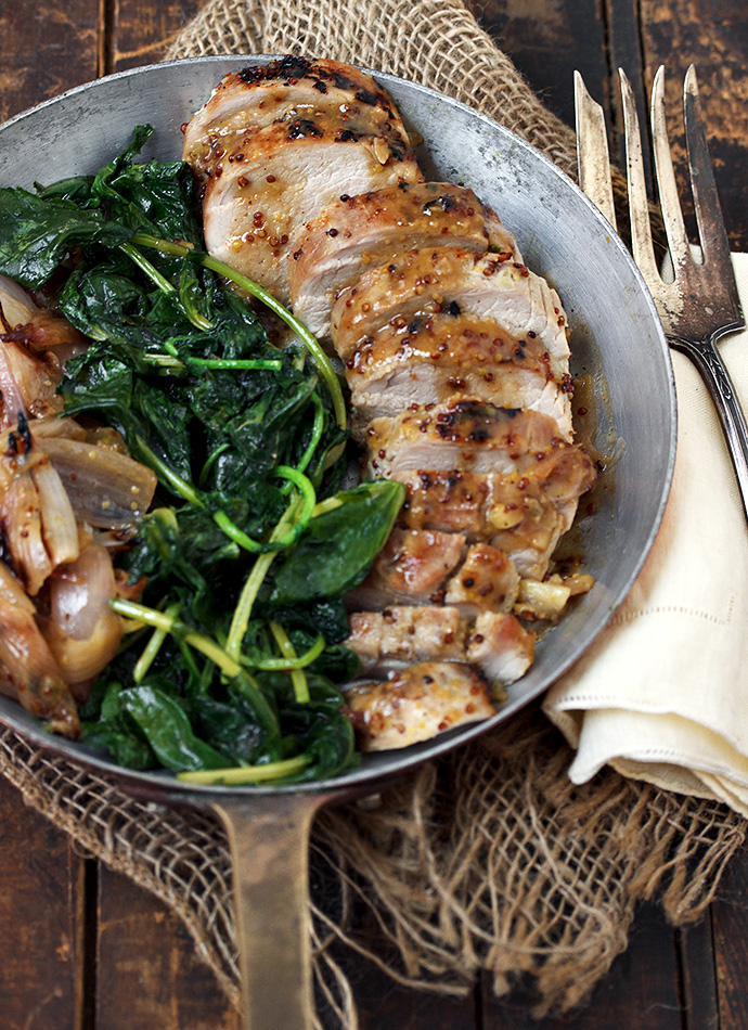 Maple Mustard Pork Tenderloin with Roasted Shallots - a delicious 30 ...